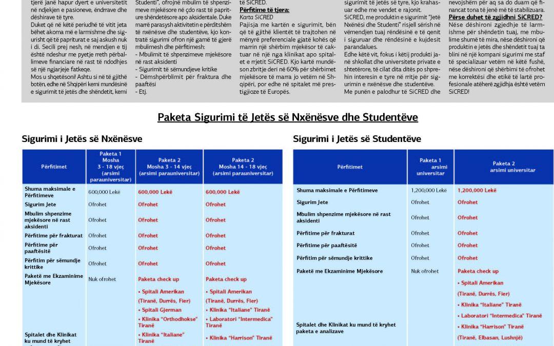 SiCRED sjell katër paketa për Sigurimin e Jetës së Nxënësve dhe Studentëve. Lexoni artikujt të botuar në shtypin e shkruar
